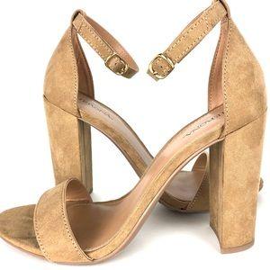 Merona Camel fabric sandal 4 inch heel size 7
